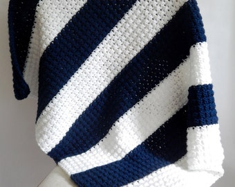 Navy and White Striped Crocheted Baby Blanket