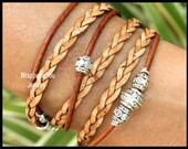 Any SIZE - Unisex Bohemian LEATHER Wrap Bracelet - Distressed Natural Brown Braided Beaded Leather Cord Triple Wrap Boho Bracelet - USA  687