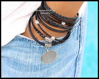 LEATHER Wrap Bracelet - Triple Leather Wrap Boho Bracelet w/ Blank Hand Stamping Coin - CASCADING Adjustable Silver Beaded Bracelets USA 722