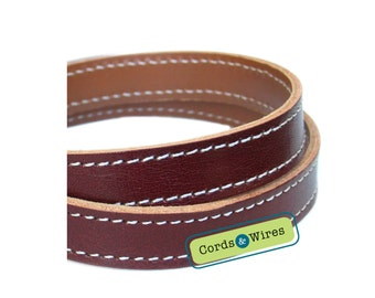 CT16005 Dark Brown Stitched Leather - 0.60 meter x 16.00mm
