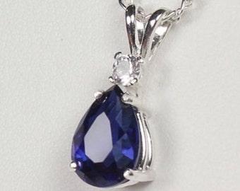 Beautiful 2.5ct Sapphire Necklace White Sapphire Accent Pendant Necklace sapphire pendant