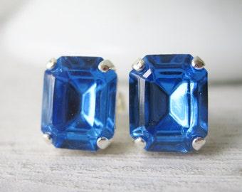 Blue Stud Earrings, Bridesmaid Earrings, Wedding Jewelry, Classic Studs, Swarovski Elements Sapphire, Silver Plated
