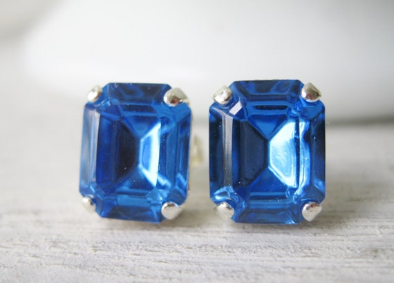 Blue Stud Earrings, Bridesmaid Earrings, Wedding Jewelry, Classic Studs, Swarovski Elements Sapphire, Silver Plated