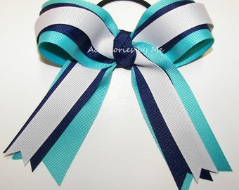 Turquoise Cheer Bow, Navy Blue White Ponytail Holder, Bulk Price Cheer Ribbons, Cheerleader Volleyball Softball Soccer Basketball Gymnastics