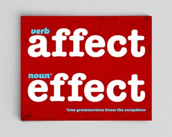 Grammar Affect Effect Print Perfect English Gift Teacher Gifts for Teachers Red Typographic Print English Gifts Gag Gift Office Decor