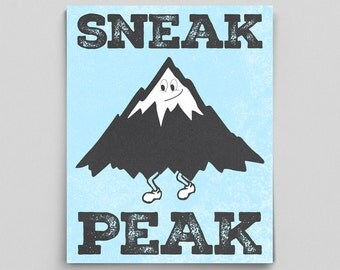 Sneak Peak English Poster Classroom Decor Typographic Print Mountain Art Print Funny Grammar Posters Gifts for Teachers Gifts Funny Print