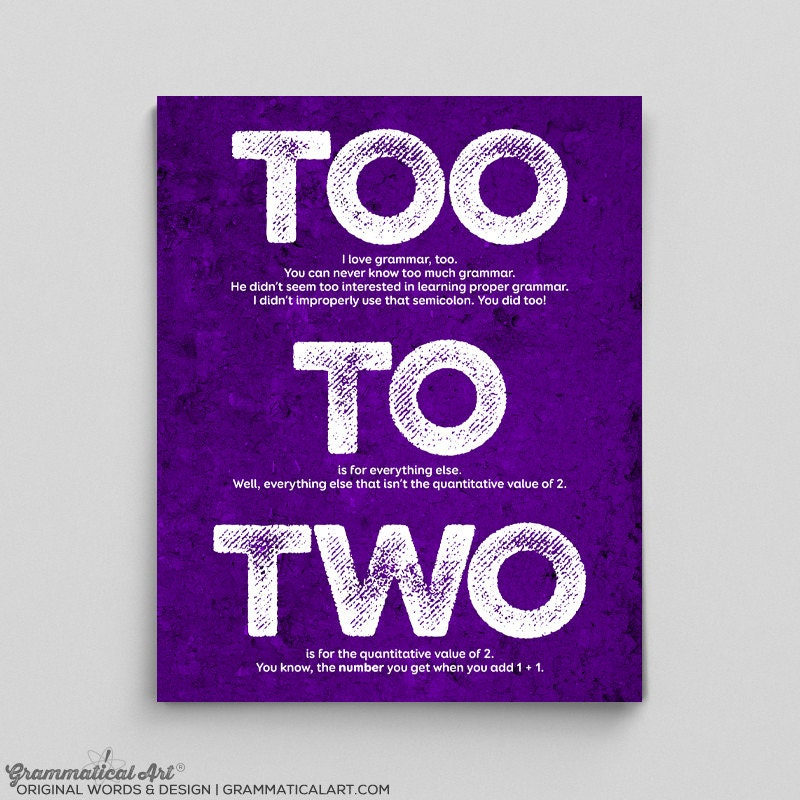 Grammar Print Too To Two Usage Definition English Print Gift