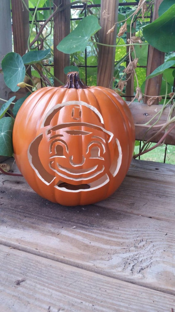 Items similar to osu brutus carved foam pumpkin ohio for Pumpkin cut out ideas