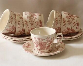 Lovely EIT Ltd. Red /Pink Transferware Tea Set 50's Vintage