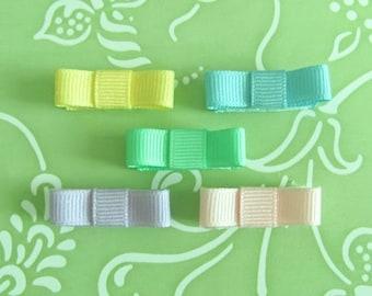 Infant Velcro Hair Bow Set - 5 Piece Pastel-Tuxedo Style
