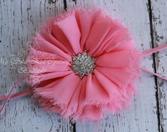 Pink Vintage Frayed Ruffle Flower with Rhinestone Center Headband- Baby Headband - Newborn Headband - Infant Headband- Photo Prop