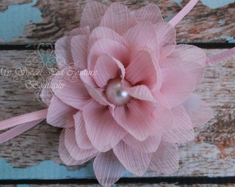 Pink Water Lilly Pearl Headband-Baby Girl Headband- Baby Headband - Newborn Headband - Infant Headband- Flower Girl- Photo Prop