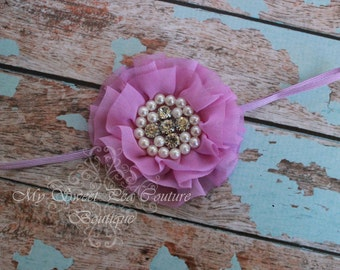 Lilac Sparkle Couture Chiffon Ruffle Flower with Pearls & Rhinestones- Baby Headband- Girl Headband- Baby Girl Headband