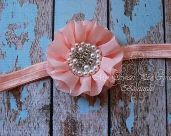 Peach Sparkle Couture Chiffon Ruffle Flower with Pearls & Rhinestones- Baby Headband- Girl Headband- Baby Girl Headband