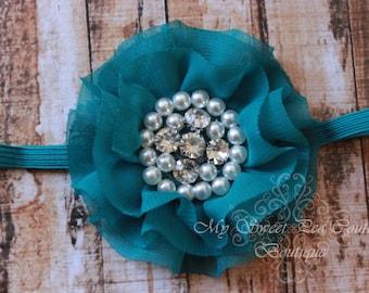 Teal Sparkle Couture Chiffon Ruffle Flower with Pearls & Rhinestones- Baby Headband- Girl Headband- Baby Girl Headband