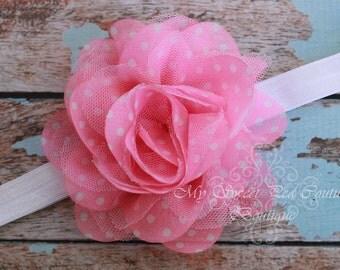 Pink Polka Dot Headband- Polka Dot Headband- Pink Headband- Newborn Headband- Toddler Headband- Girls Headband- Photo Prop