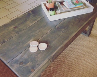 Handmade larger Rustic Coffee Table in gray
