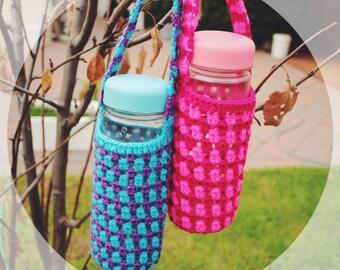 Mixed Purple Blue/ Raspberry Pink Crocheted Bottle Holder, Cozy Water Bottle Carrier