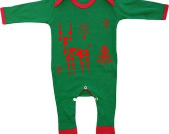 Baby pyjamas, unisex romper suit, geometric reindeer, infant pajamas outfit