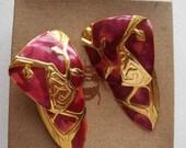 ON SALE Vintage 80s Berebi lightweight very large pierced enamel earrings have swinging dangle gold and fushia swirls