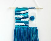 Small Handmade Weaving | Blue, Turquoise, White Woven Wall Hanging | Tapestry