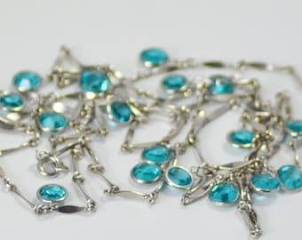 Long Silver Link Chain Necklace with Aqua Crystal Dangles