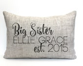 "big sister pillow, sister pillow, big sister gift, kid's pillow, child's pillow, christmas gift - ""The Big Sister"""