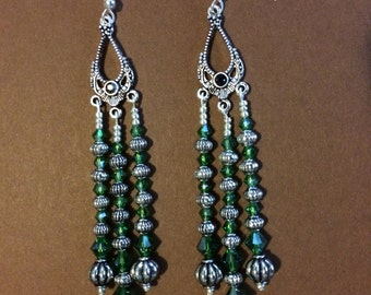 Extra Long Chandelier Earrings in Green Crystals and Silver Findings