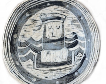 "Handmade Ceramic Wall Plaque ""sailor looking through a port hole"""