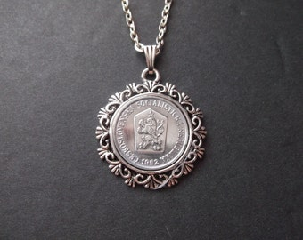 CeskoSlovenska Socialisticka Republika Coin Necklace -Coin Pendant in Pendant Tray - 1962 Coin Necklace
