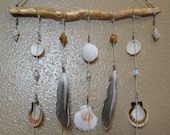 Wall Hanging - Natural Shell, Feather, Glass, Wood