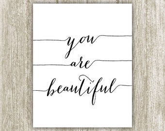 You Are Beautiful Wall Art, Nursery Printable Decor, You Are Beautiful Print Calligraphy Affirmation Yoga Poster 8x10 11x14 Instant Download