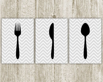 Silverware Kitchen Wall Art, Fork Knife Spoon, Printable Kitchen Decor, Black Gray Chevron Silverware Print, 5x7 Set of 3 Instant Download
