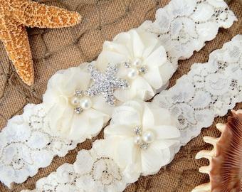 Beach Wedding Starfish Garter Set , Wedding Garter Set ,Bridal Garter, Garters for Wedding , Garter ,Lace Garter , Toss Garter included