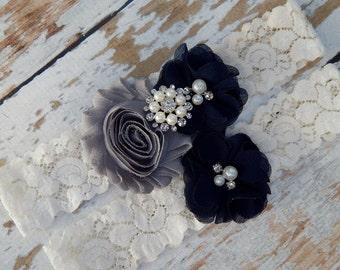 Navy Blue and Gray Garter , Bridal Garter , Wedding Garter Set ,Ivory Garter , Vintage Inspired Garter ,Wedding Garter Set , Lace Garter