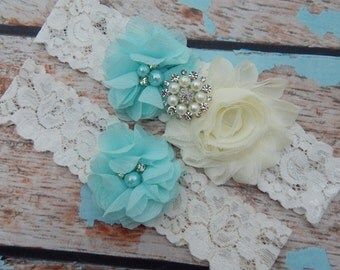 Aqua Blue Garter Set , Wedding Garter Set , White Garter , Garter , Lace Garter Set , Bridal Garter