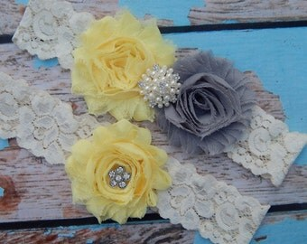 Your Color , Gray and Yellow Garter Set , Wedding Garter , Garter Set , Garter , Toss Garter , Wedding Garter Set , Bridal Garter