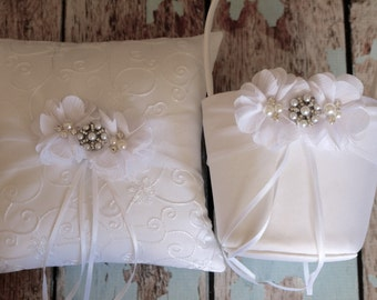 Your Color ,Flower Girl Basket and Ring Bearer Pillow Set , White Ring Bearer Pillow ,White Flower Girl Basket ,