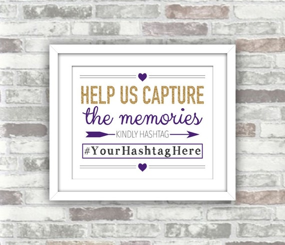 PRINTABLE Digital File - Wedding Hashtag Help Us Capture the Memories - Gold Glitter Effect Purple - Winter Wedding - 8x10 Personalised