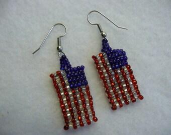 American Flag Seed Bead Voting 4th of July Patriotic Earrings