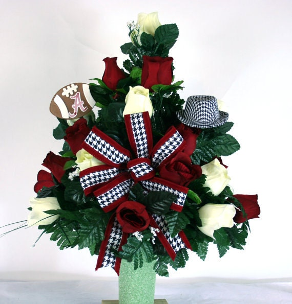 Alabama Crimson Tide Fan Vase Cemetery Flower By Crazyboutdeco