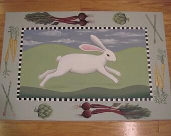 Bunny Rabbit Floorcloth with Veggies