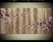 "Original Modern Art  Painting on Gallery wrapped Canvas , Home decor, 48"" x 24"" Purple Cherry Blossoms"