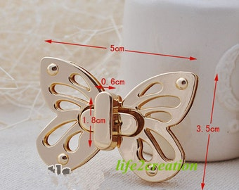 Butterfly Purse lock twist purse turn lock clutch clock ,Butterfly Lock 38*52mm JY-005 1pc