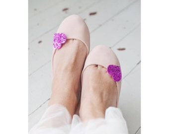 Medium Fuchsia Glitter Heart Shoe Clips, Hot Pink Wedding Shoe Accessoires