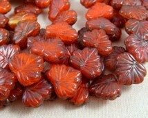 Maple Leaf Beads - Czech Glass Beads - Red Glass Maple Leaf - Orangy Red Maple Leaf (RJ2379) - 10x13mm - Qty. 8