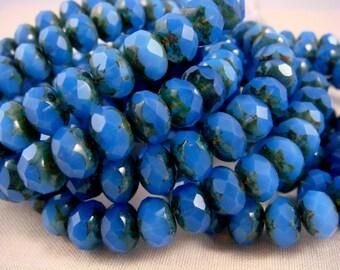 Czech Beads, 6x8mm Rondelle, Czech Glass Beads, Picasso Beads - Cornflower Blue Glass Beads (R8/RJ-0045) - Qty 12