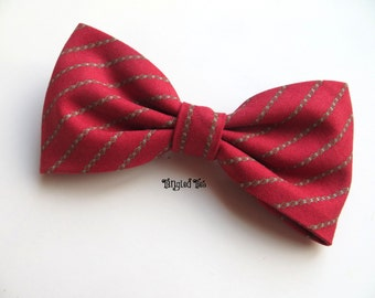 Christmas Bow Tie Holiday Bow Tie Red Striped Bow Tie