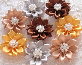 8 Handmade Flowers With Pearls  (1.5 to 1-3/4 inches) MY- 389-03 Ready To Ship