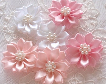 6 Handmade Flowers With Pearls  (1.5 to 1-3/4 inches) MY- 389-05 Ready To Ship